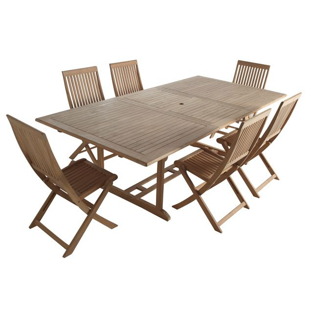 Ensemble table + 6 chaises en teck | balcon idée | Table de jardin ...