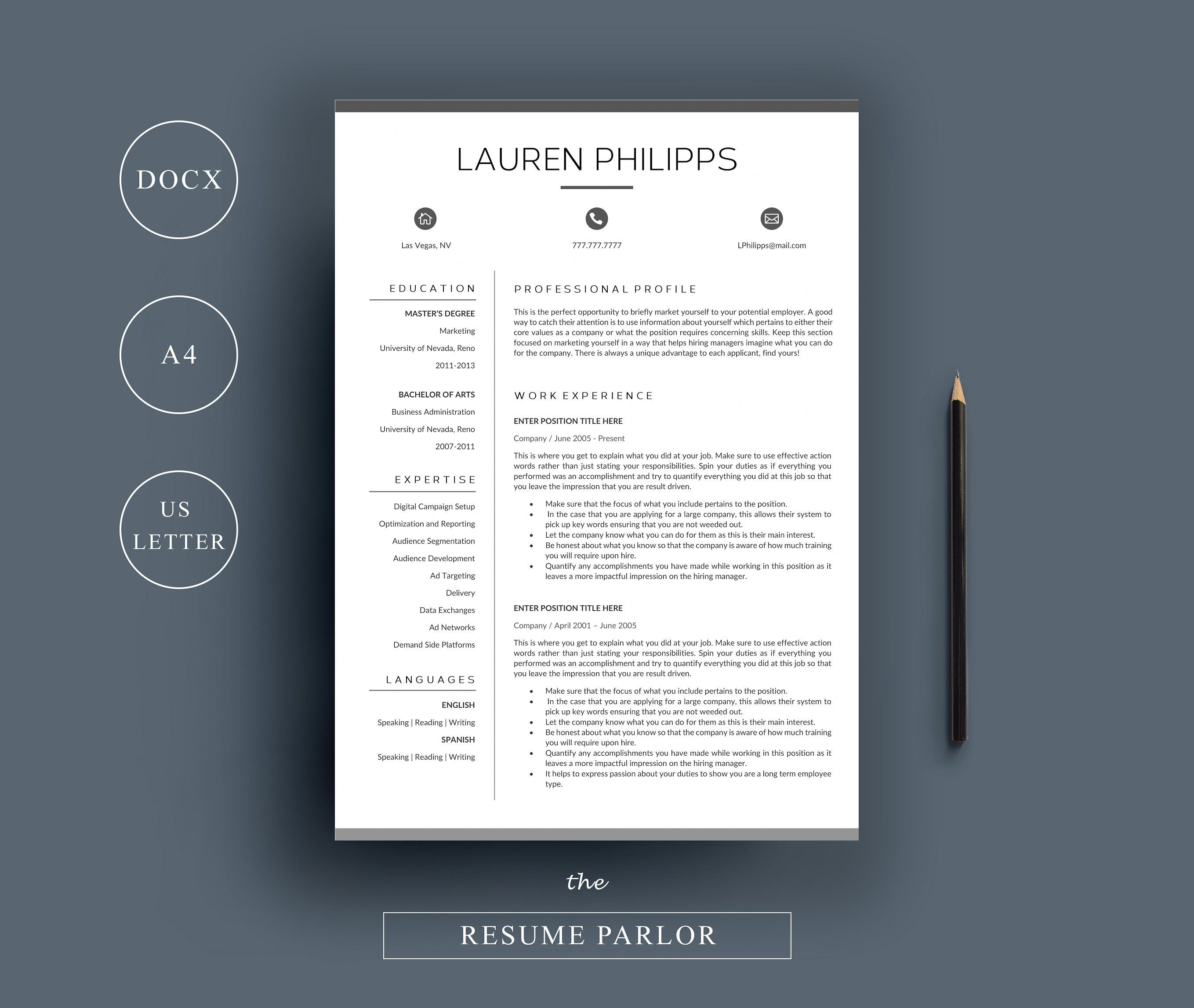 Resume  Page  A  Us Letter By The Resume Parlor On