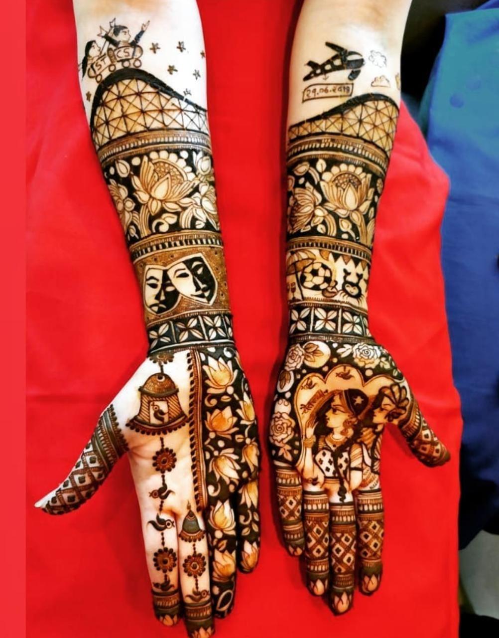 Mehendi design ideas for brides # Portrait mehendi ideas #Bridal heena  inspiration # Tren… | Bridal mehndi designs, Bridal mehendi designs, Full  hand mehndi designs