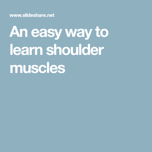 An easy way to learn shoulder muscles