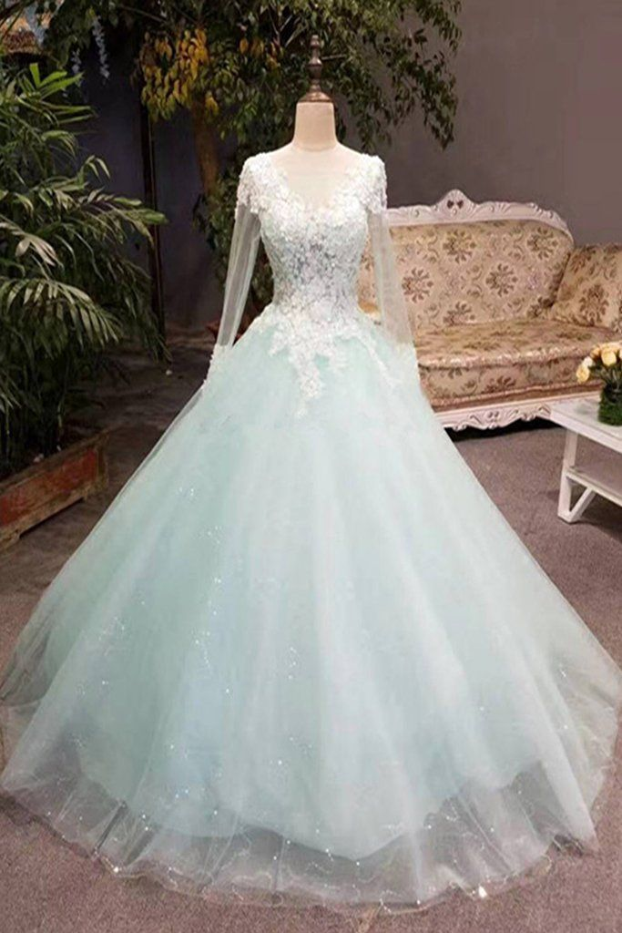 Unique mint tulle long lace top winter prom dress with sleeves ...