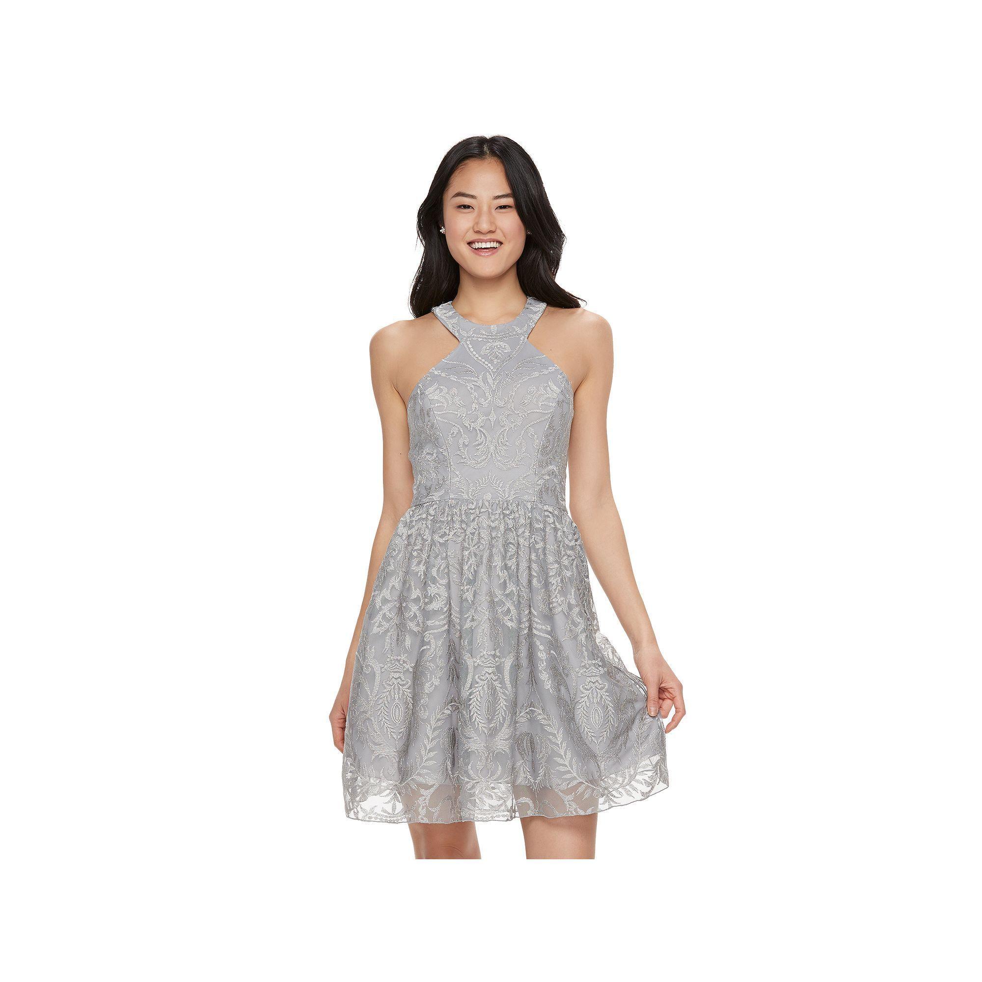 Juniors\' Speechless Glitter Halter Dress, Teens, Size: 11, Silver ...