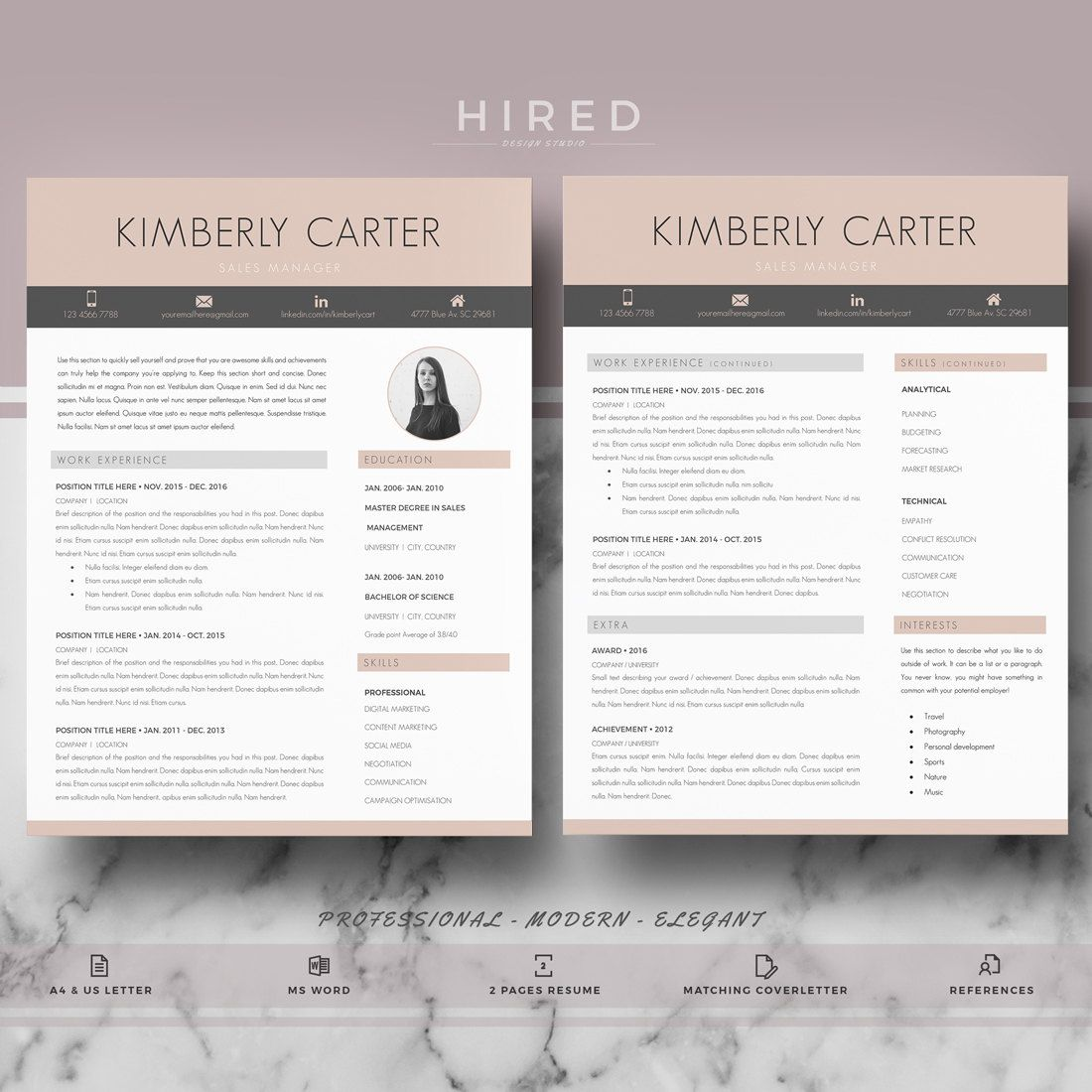 Modern Resume Template Modern Cv For Ms Word Pages Professional