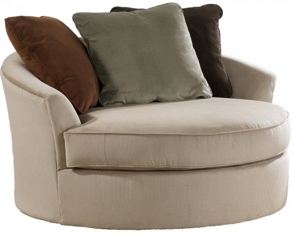 Laken Mocha Oversized Round Swivel Chair By Ashley Furniture Comfortable Living Room Chairs Oversized Chair Living Room Hom Furniture