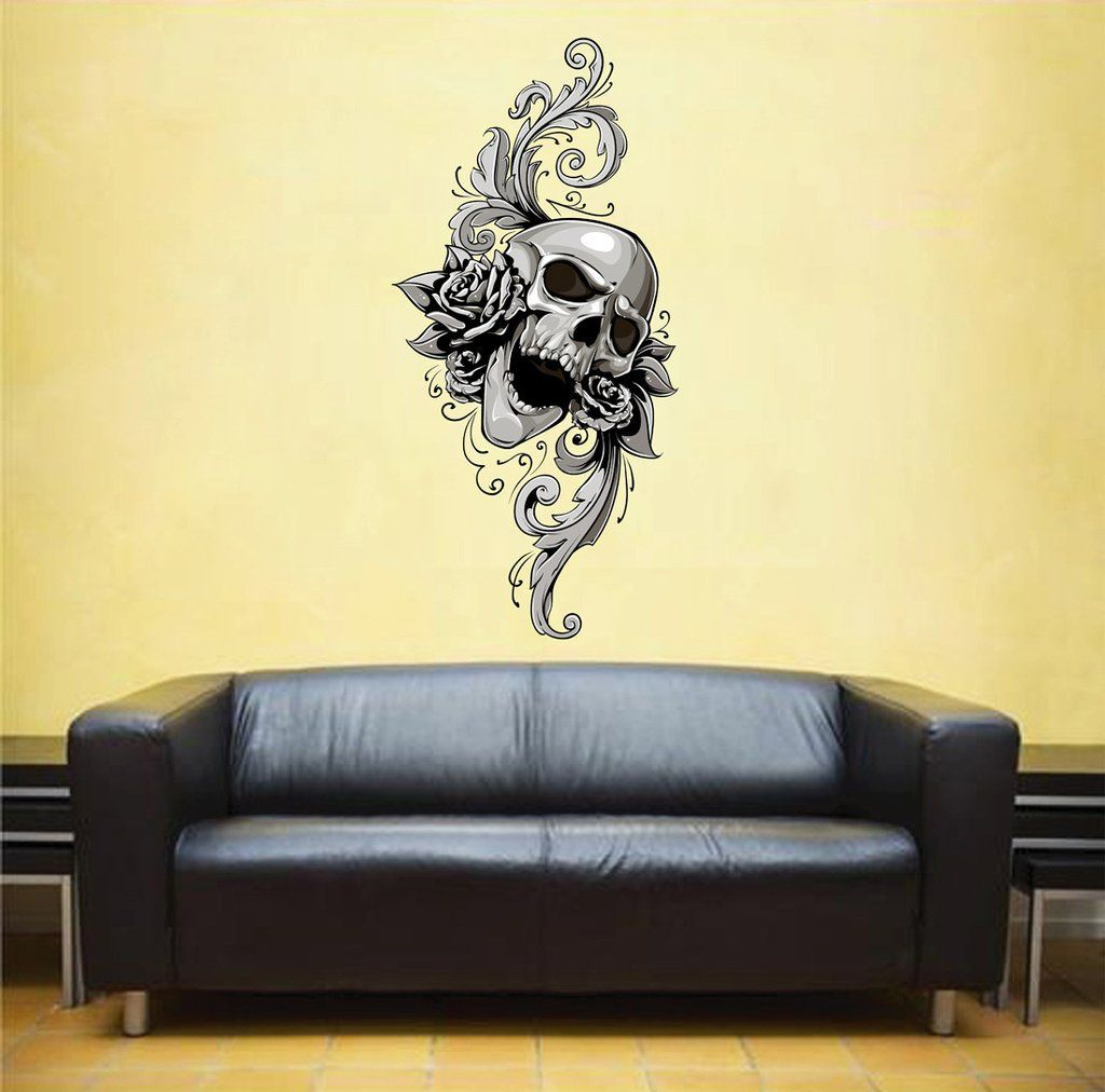 cik544 Full Color Wall decal Skull Monogram flowers living bedroom ...
