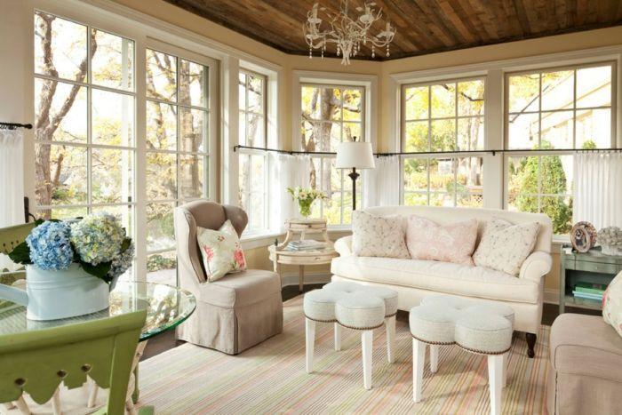 Shabby Chic Wohnzimmer Elegante Einrichtung Streifenteppich