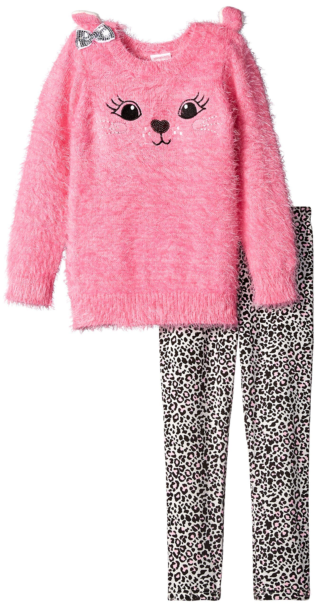 bed4658f6f1c0 Youngland Little Girls' Cat Tunic Sweater with Knit Leopard Print Legging,  Pink/Multi