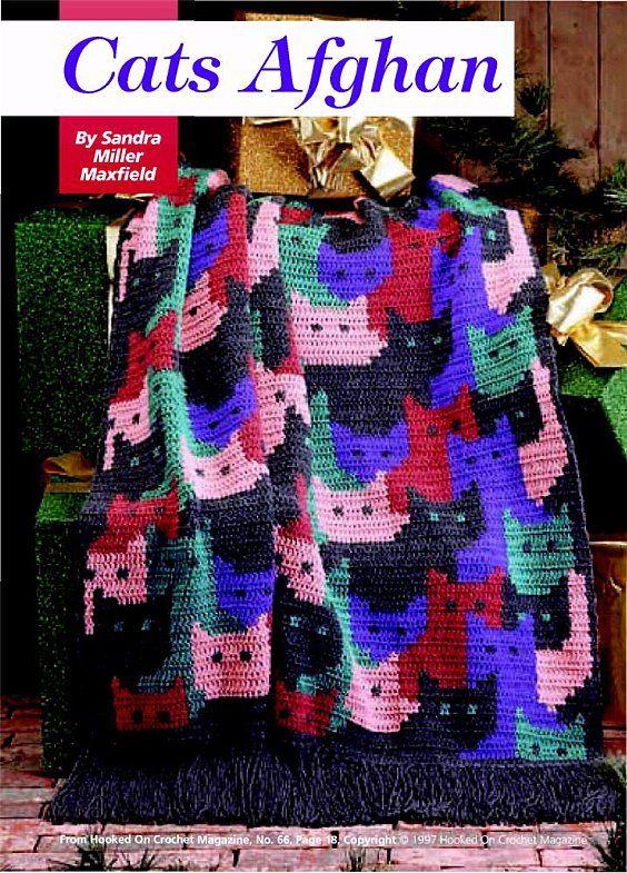Cat blanket , crochet pattern | I love crochet | Pinterest | Colchas ...