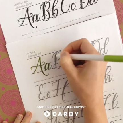 Become a pro at calligraphy by practicing with an alphabet tracing sheet #darbysmart #diy #diyprojects #diyideas #diycrafts #easydiy #artsandcrafts #calligraphy #handlettering #brushpens #practicemakesperfect #handwriting #brushlettering #calligraphy