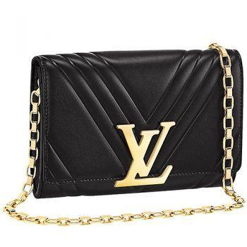 bdf3b7d6af57 Louis Vuitton Pochette Louise GM Black Leather Gold Chain Strap Bag 18927412