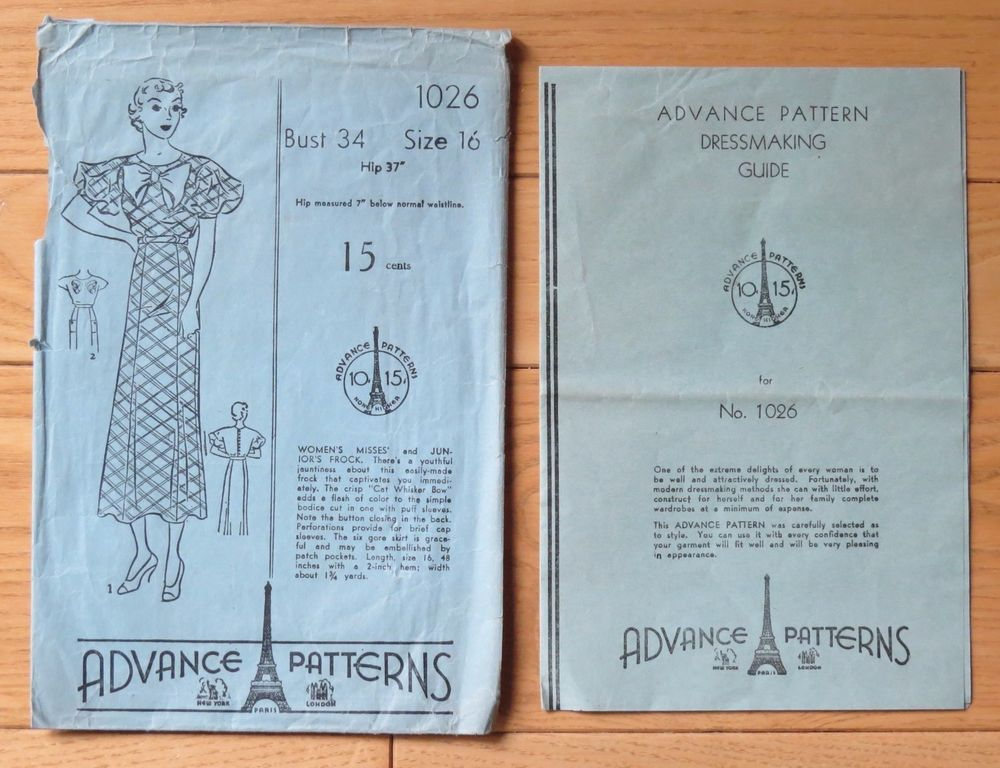"Vintage 1920's Advance Sewing Pattern 1026~ Misses' Dress with ""Cat Whisker Bow"""