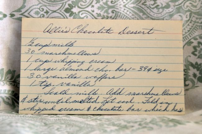 Vintage recipe for Allie's Chocolate Dessert - Vintage Recipe Project