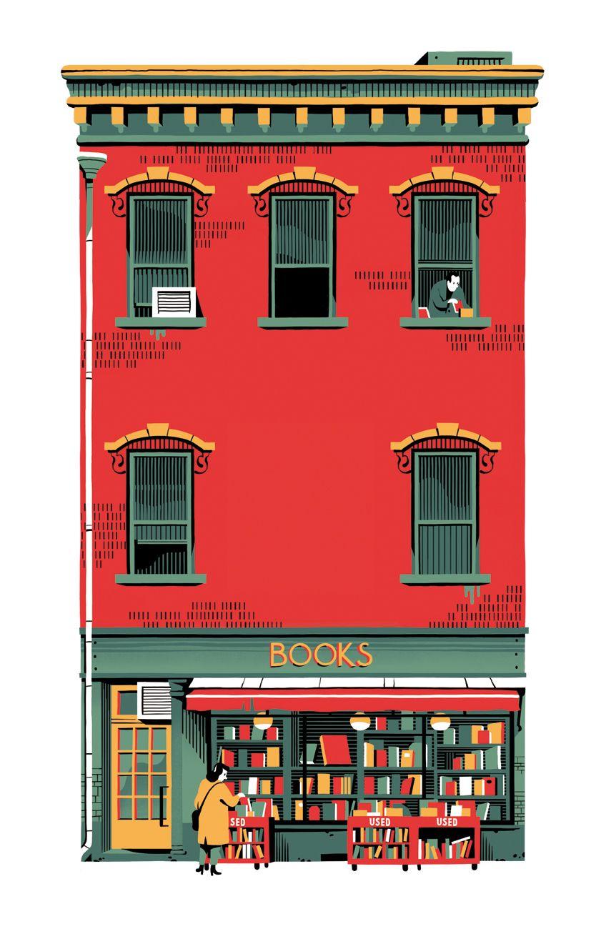 """hoveringcat: """" A beautiful illustration by Vincent Mahé, for a book entitled 'La Librairie de La Pomme Verte'. """""""