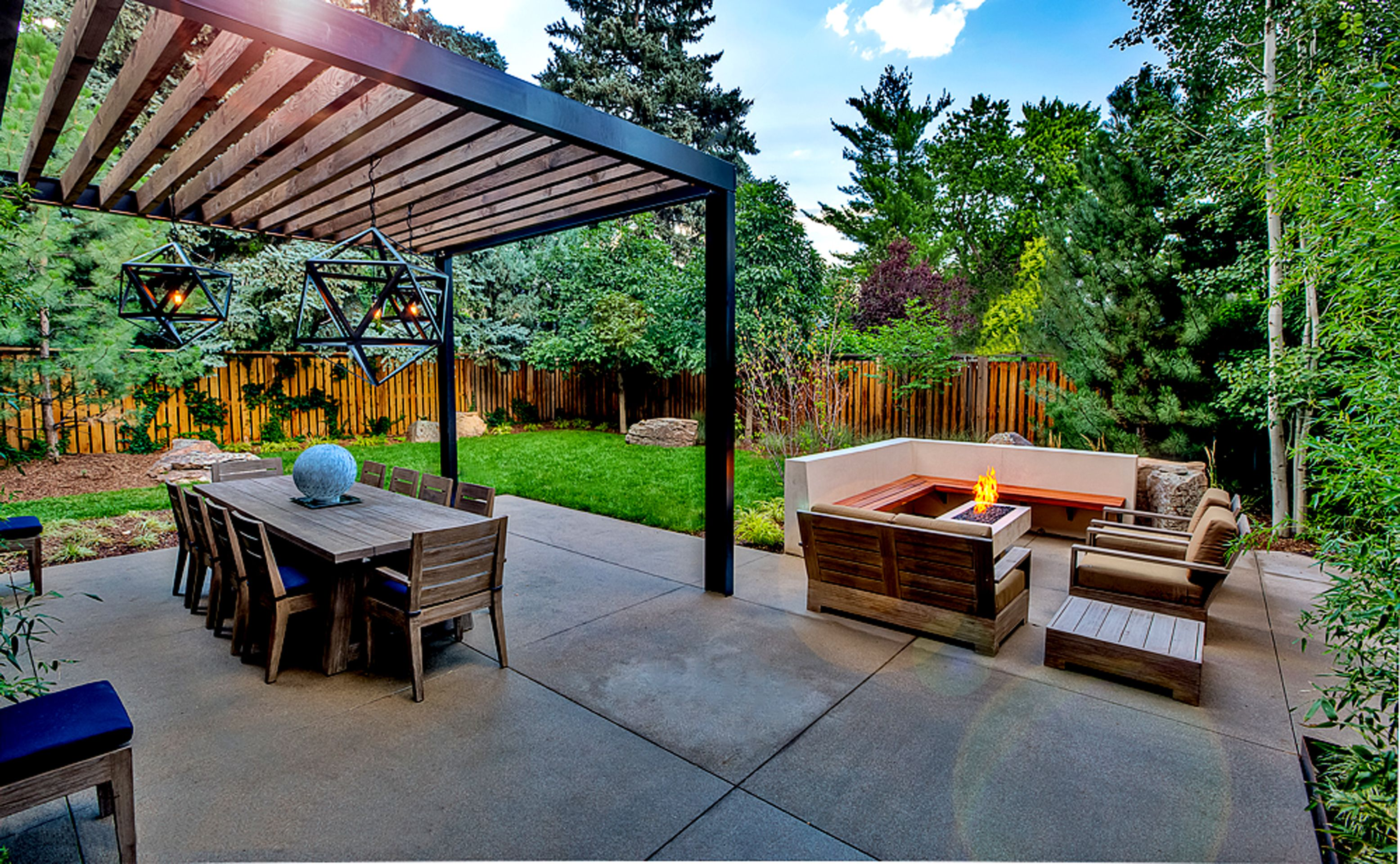 Pergola Build From Steel Beams By Mile High Landscaping