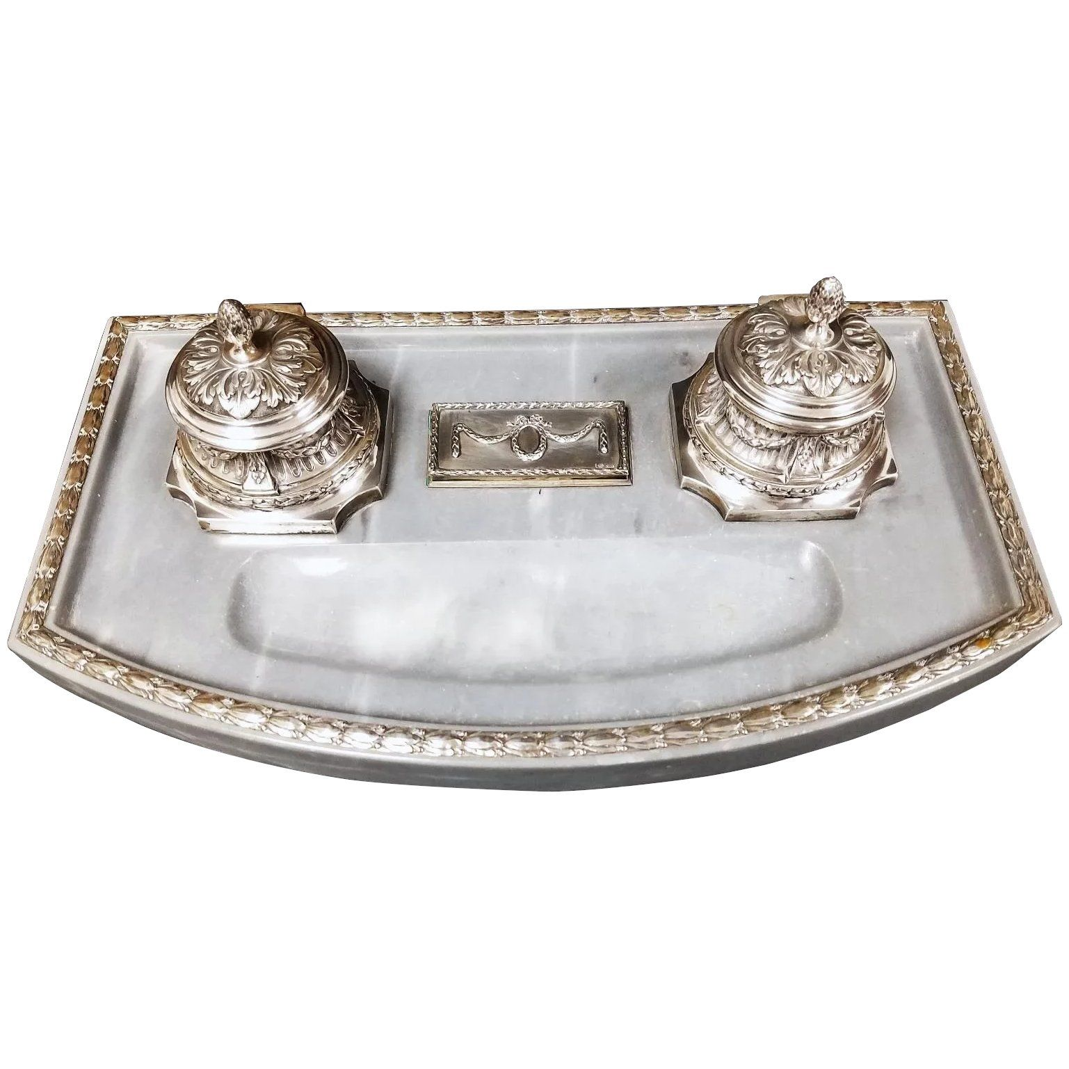 Finest Quality 800 Silver German Marble Desk Set With Inkwells In 2020 Marble Desk Desk Set Silver