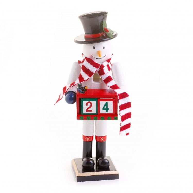 Two Christmas decorations in one - A Snowman Nutcracker and an Advent Calendar!