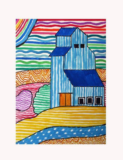 Line Art Lessons For Elementary : Prairie elevator art lessons craft and school
