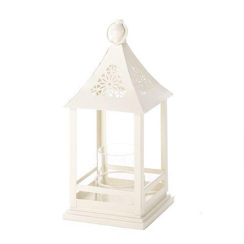Beautiful White Floral Cutout Lantern With Glass Hurricane