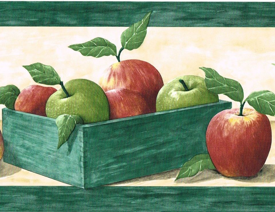 Great Red Green Apples Apple Fruit Crate Box Shelf Kitchen Wall Paper Border