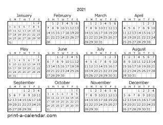 2021 One Page Calendar Printable Yearly Calendar Printable Calendar Template Calendar Printables