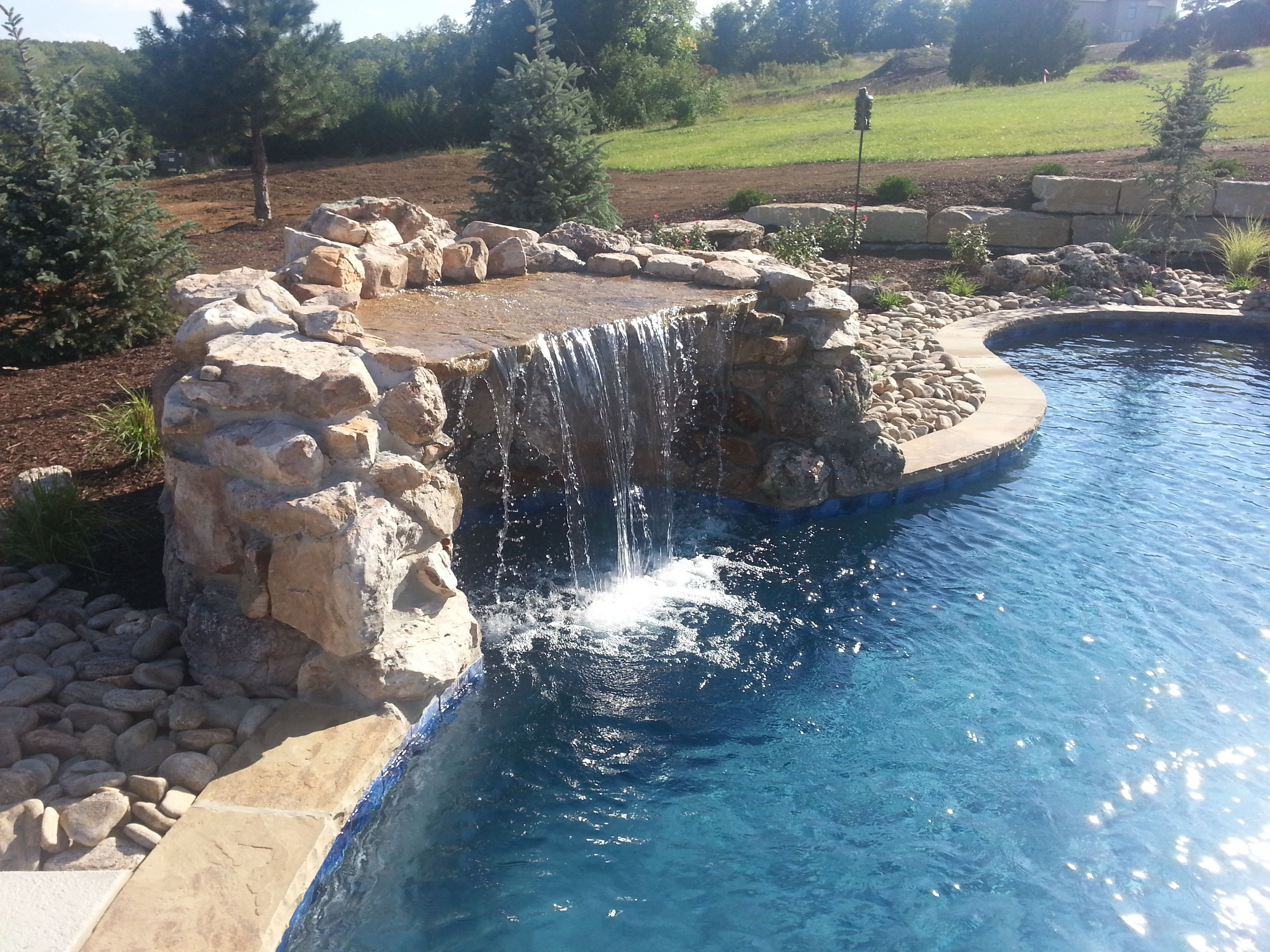 Blue Haven Pools Of Kansas City Design  Grotto Waterfall