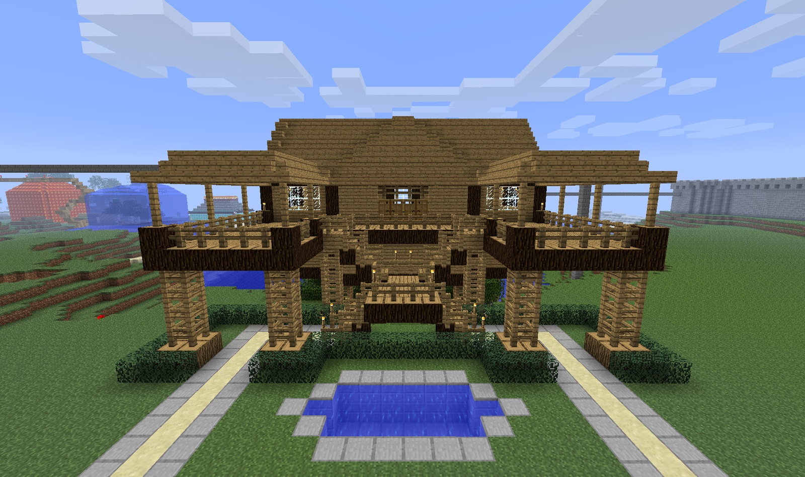 Minecraft house on top of bearded steve description from for Minecraft house ideas