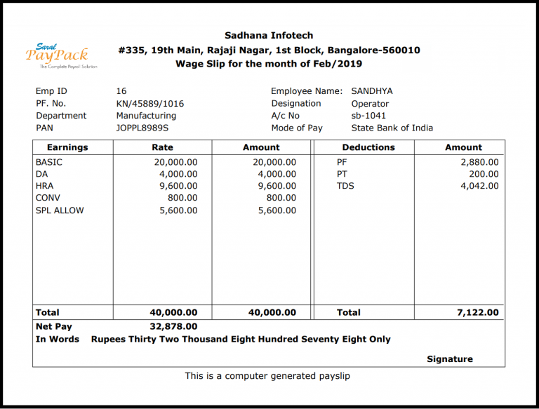 Salary slip or Payslip format Validity, importance and