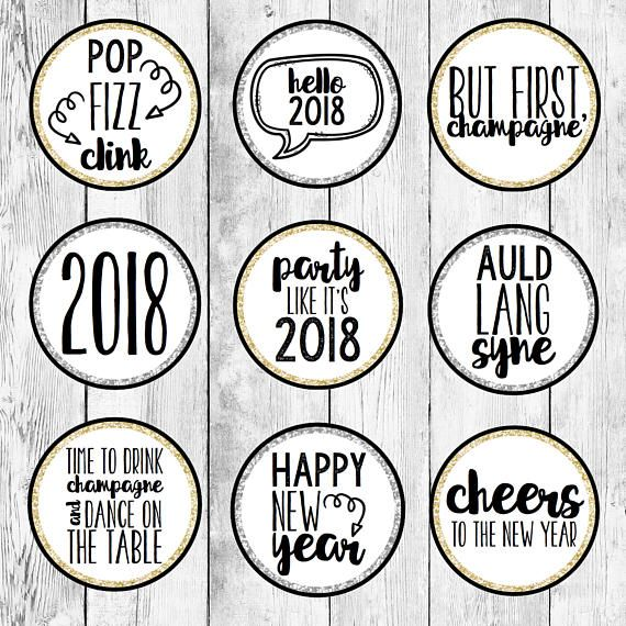 New Year's Eve Party Cupcake Topper Printable/ Event Cake