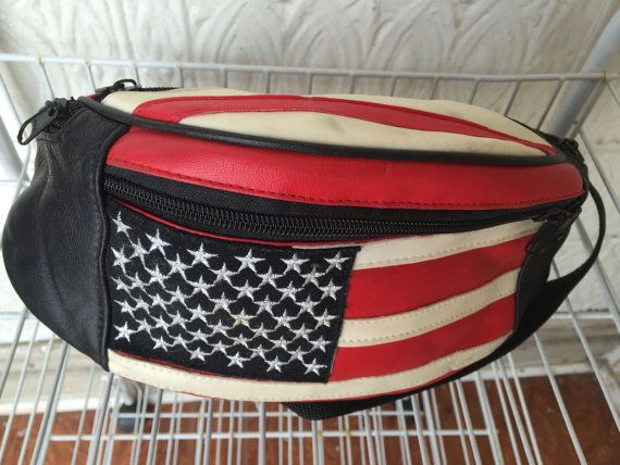 Red White and Black American Flag Fannypack by MidnightThrifting