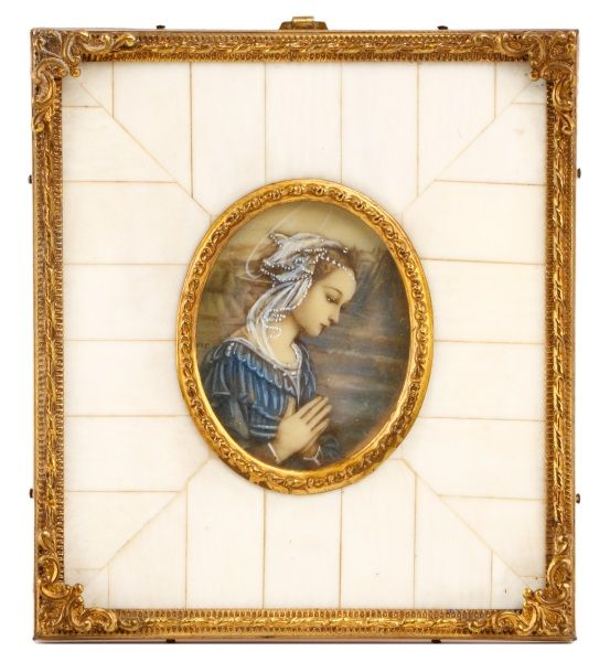 Miniature Portrait of Young Woman Praying, 19th C.
