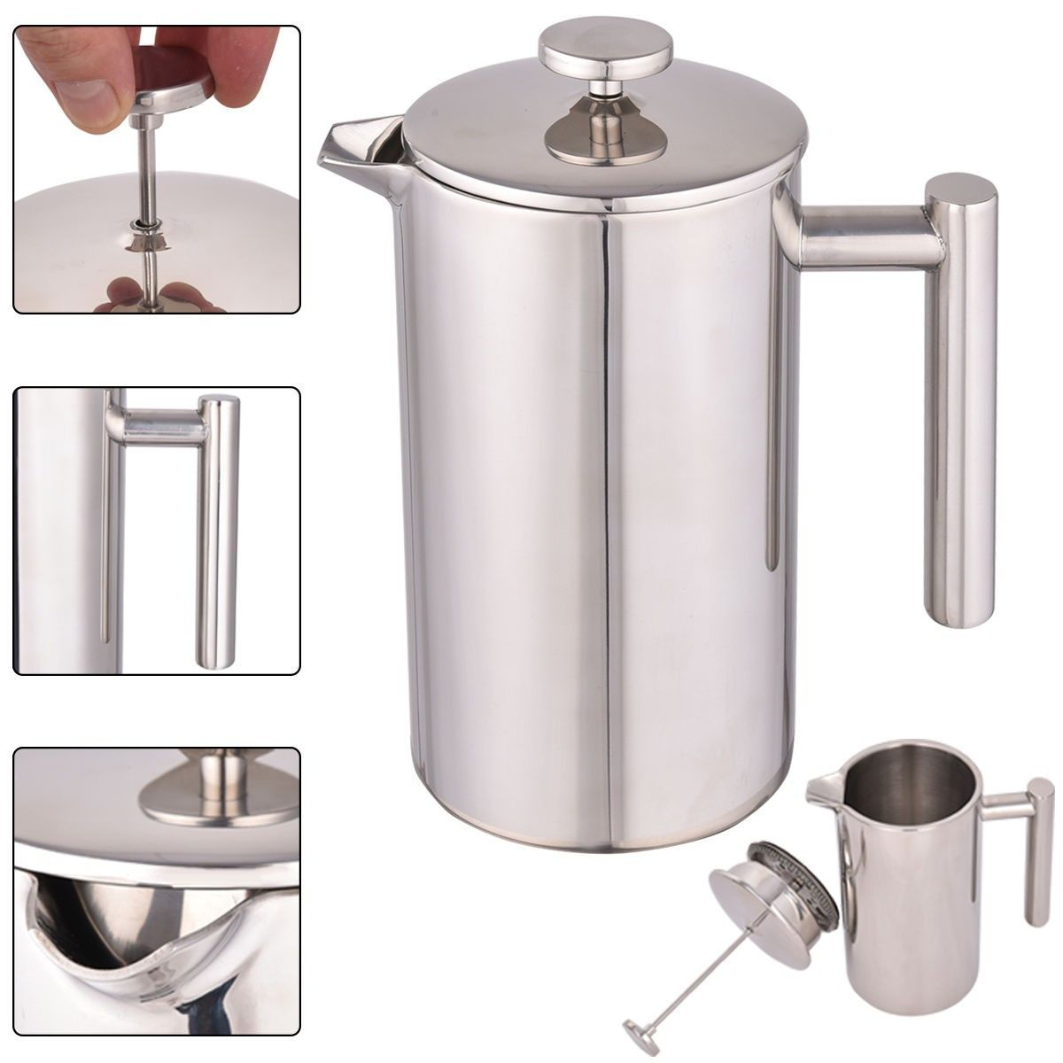 34 Oz Double Wall Stainless Steel Coffee Plunger 8 Cup French Press Maker