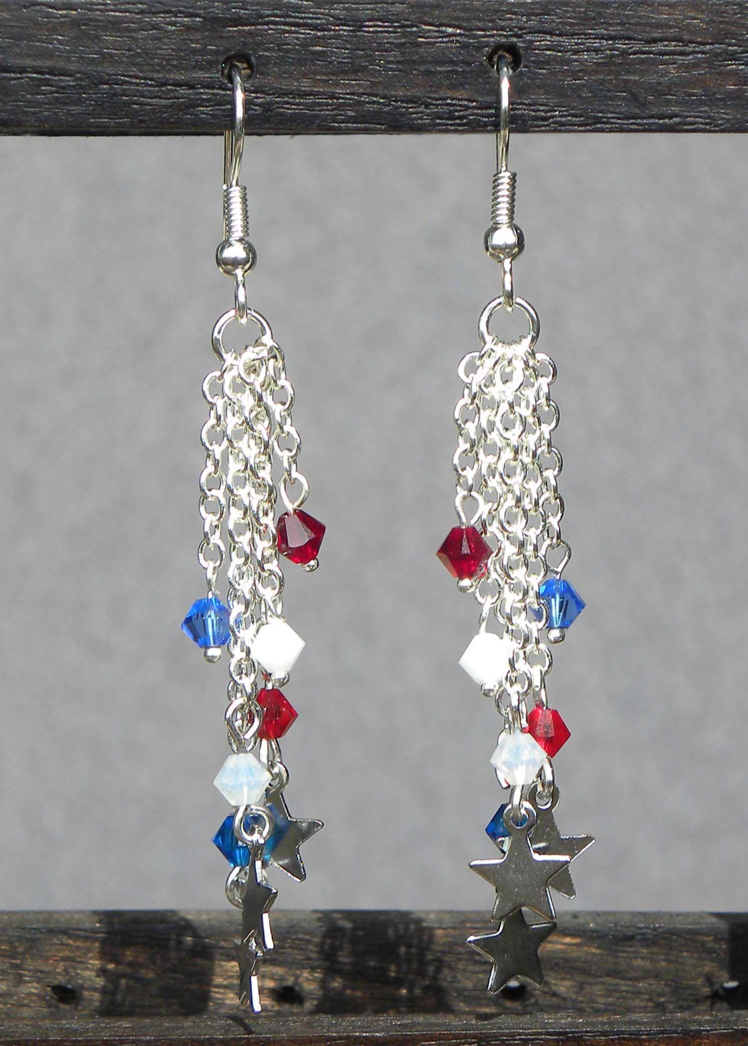 Diy Red And Black Eye Makeup: Shimmering Tassel Earrings In Red, White And Blue ... #DIY