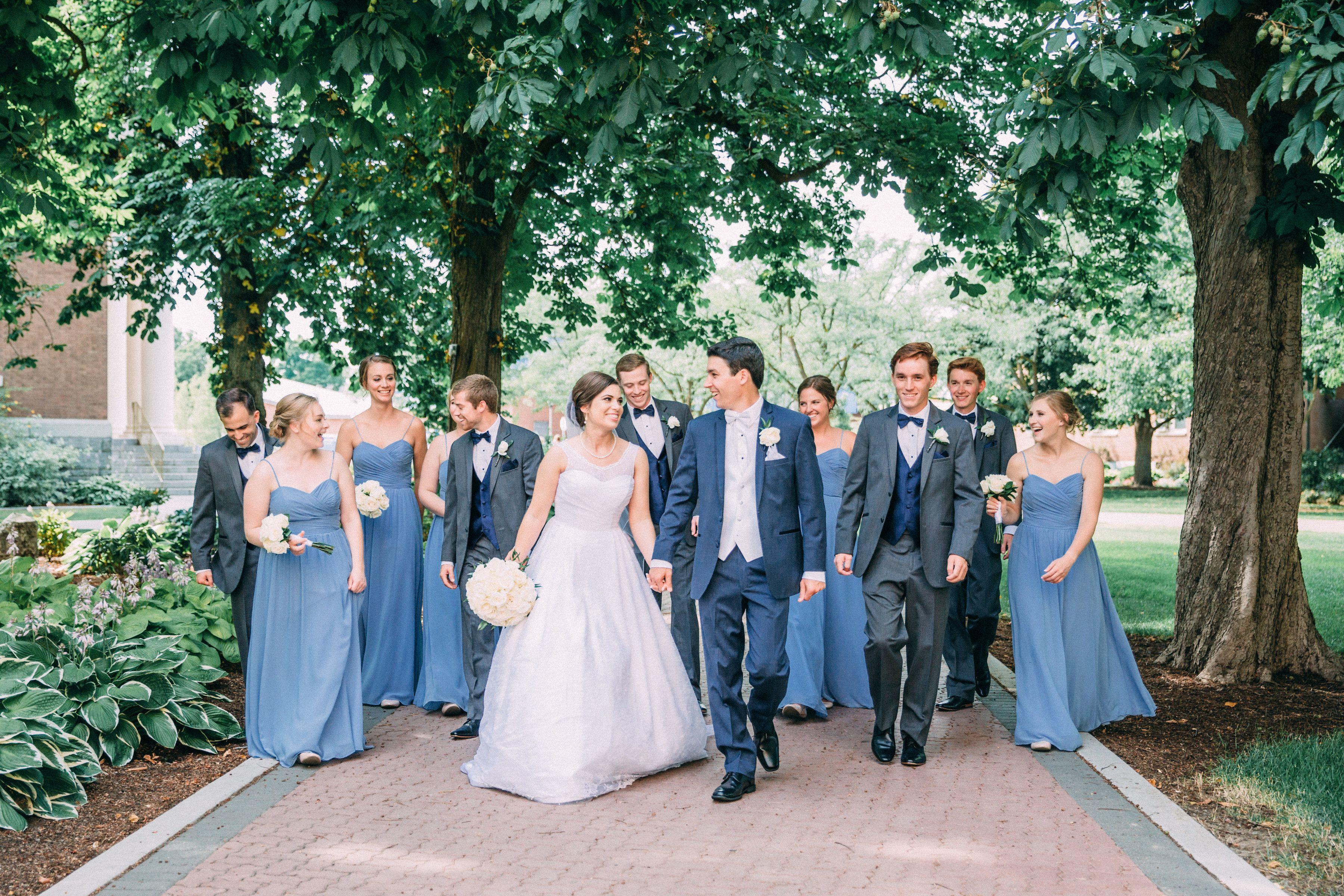 Slate blue bridesmaid dresses, groomsmen in charcoal gray ...