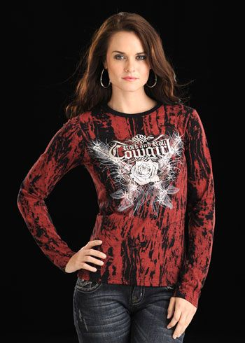 Rock & Roll Cowgirl Pistols Burnout Tee