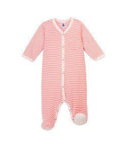 Petit Bateau Baby Girl Striped Sleepsuit - Merveille pink / Lait white