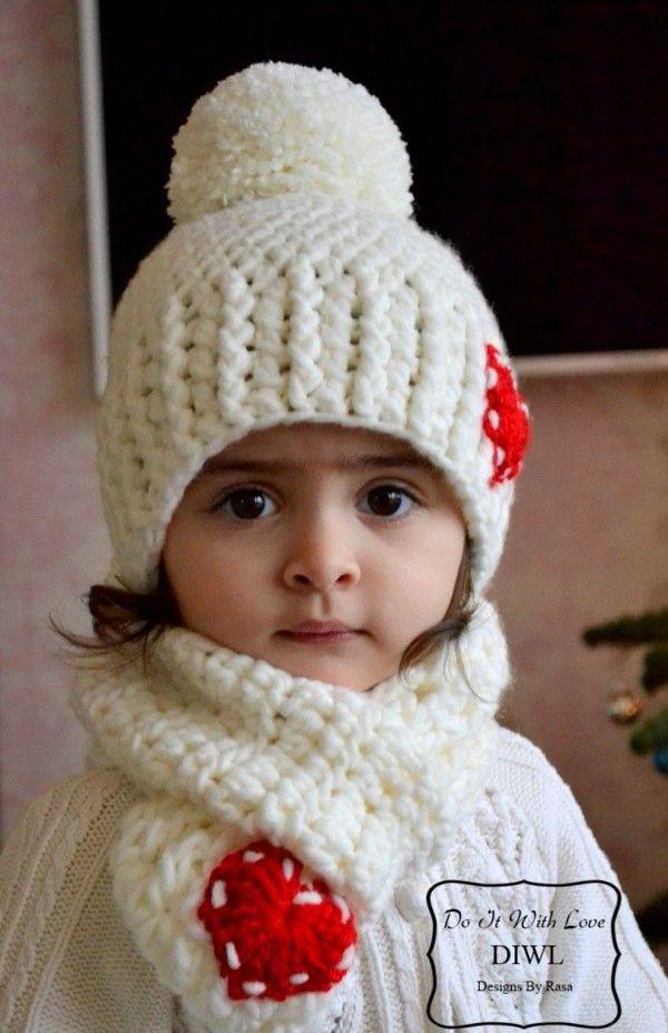Winter-Set für Kinder mit Bommel-Mütze und Herz-Applikation selber ...
