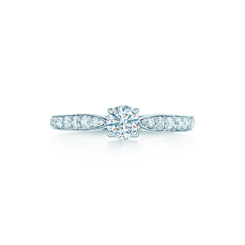 3e6455b28ac Tiffany Harmony® Round Brilliant Engagement Ring with Diamond Band ...