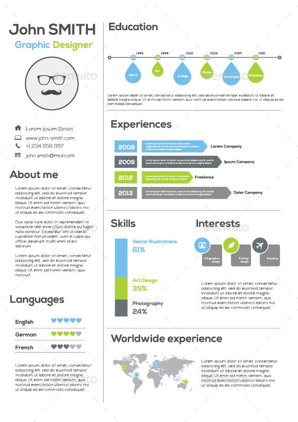 Infographic Resume Template By HirsDesign Flat Is Simple And Unique For Creatives Professionals Designers Developers Others