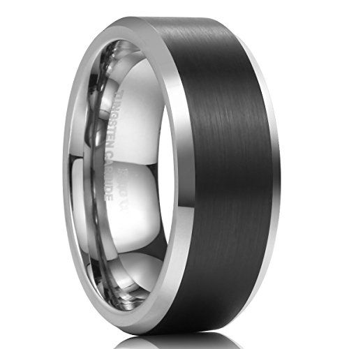 b13f4b30d61 King Will 8mm Mens Tungsten Carbide Ring Wedding Band Black Brushed Matte  Finished Comfort Fit 7.5