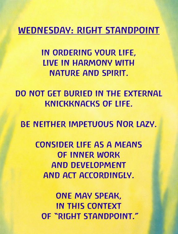Wednesday: Right Standpoint Exercises for the Days of the Week by Rudolf  Steiner | Rudolf steiner, Steiner waldorf education, Rudolf