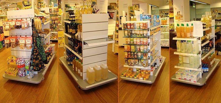 Mobiliario realizado en melamina para tienda La Natural en Zaragoza.