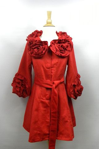 Red Ruffle Coat - Ropero Boutique