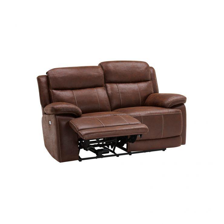 Santiago 2 Seater Electric Recliner Sofa Dark Brown Fabric Image 5 Brown Fabric Sofa Reclining Sofa Recliner