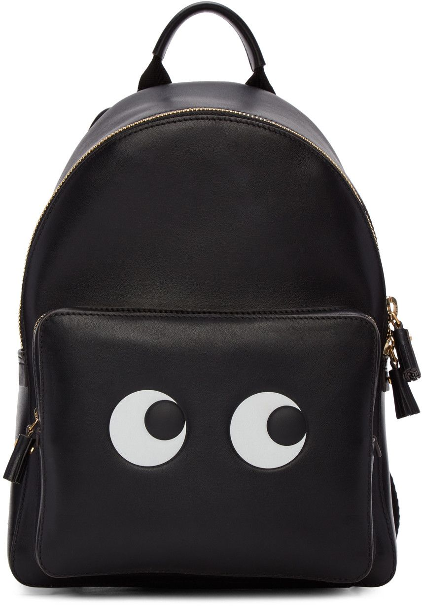 b1aaeb700998 ANYA HINDMARCH Black Mini Eyes Right Backpack.  anyahindmarch  bags   leather  lining  backpacks