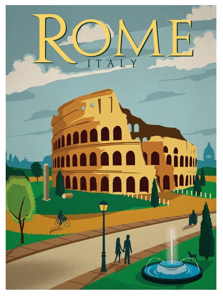 Vintage Rome Travel Poster Vintage Travel Posters Travel Posters Travel Prints