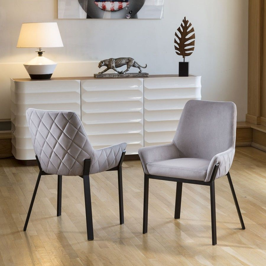 Set Of 2 Modern Luxury Carver Chairs Light Grey Matt Black Steel