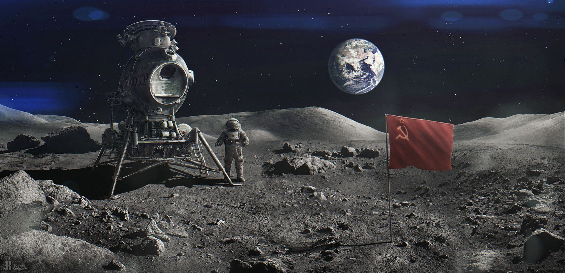 Pin On Art Sci Fi Astronaut on moon with flag wallpaper