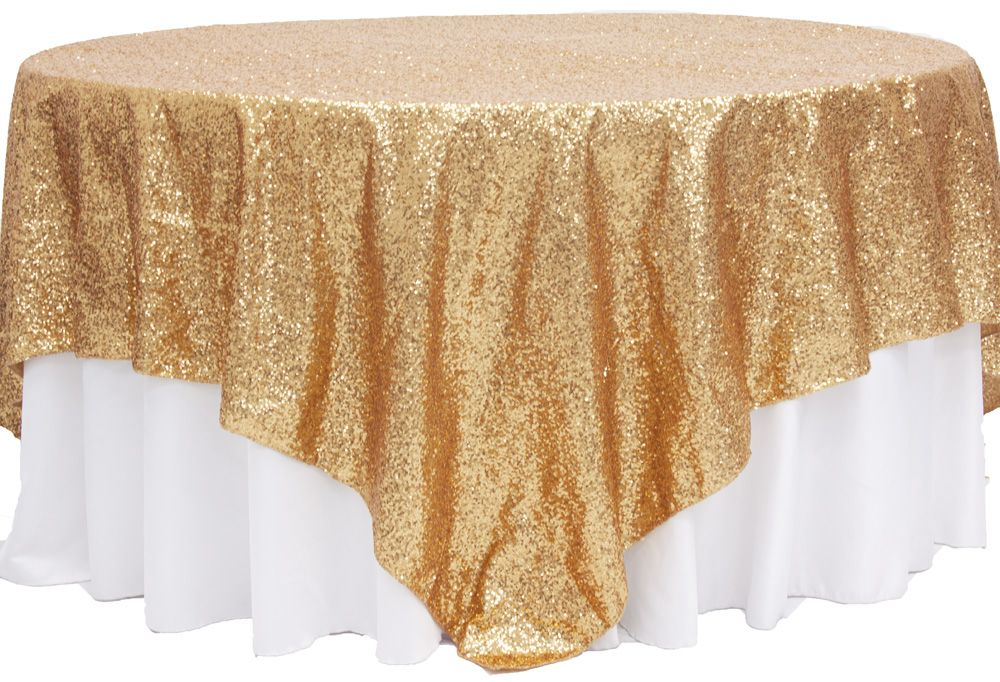 Glitz Sequin Table Overlay Topper Square   Gold ORDERED TWO For Head Table ( Which Will Be Two Tables Combined) With Ivory Tablecloth Underneath.