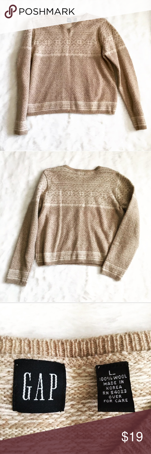 GAP Ivory Cream 100% Snowflake Winter Sweater So cute and warm and ...