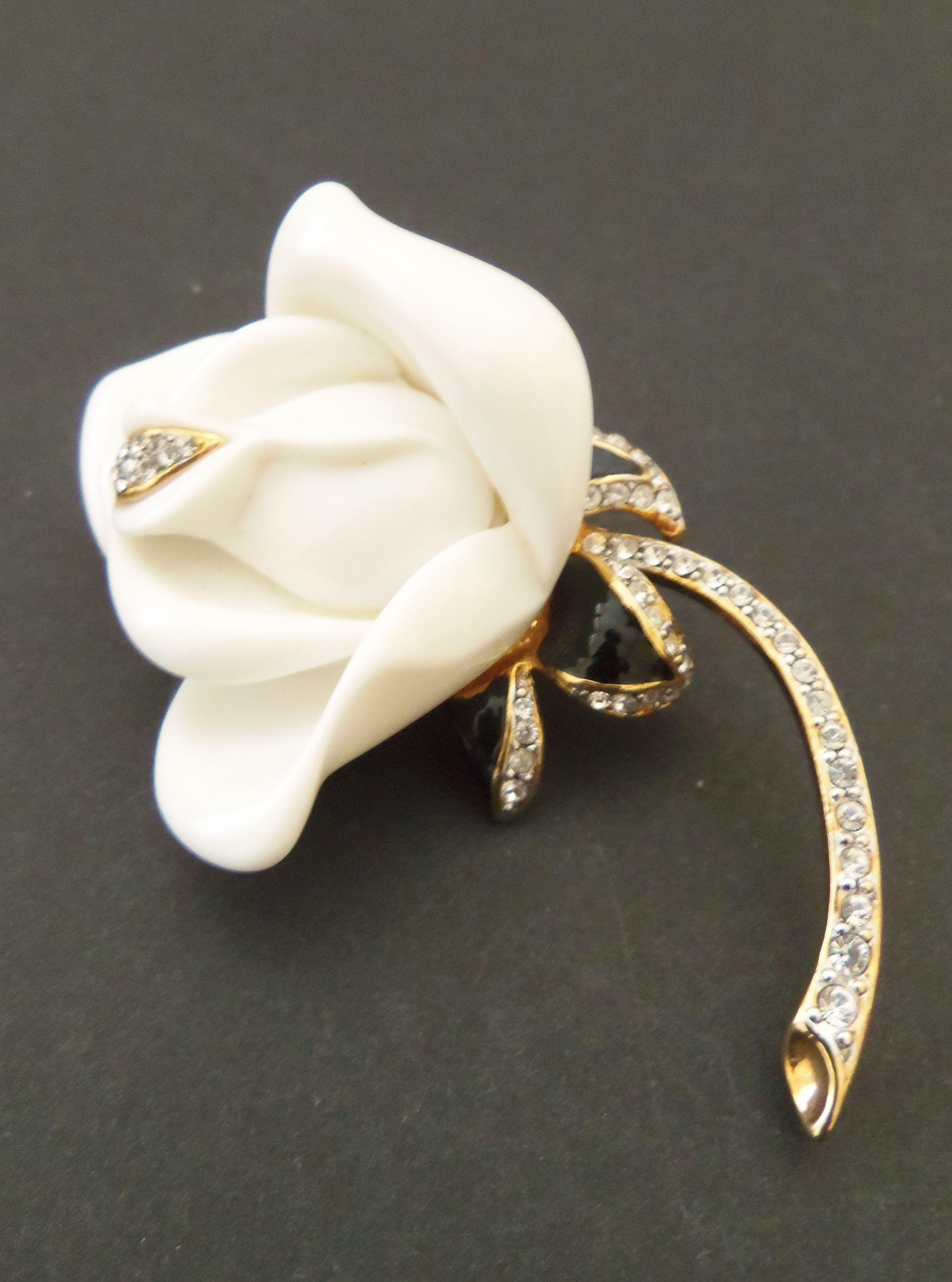 SOLD - Beautiful Small Vintage Gold Tone KJL Enamel Rhinestone Rosebud Brooch/Pin